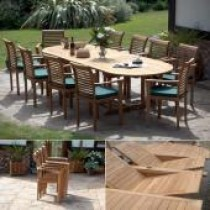 Teak 10 Seater Oval Double Extending Set